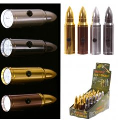 A novelty LED bullet shaped torch in 3 assorted designs. A unique pocket money priced item.