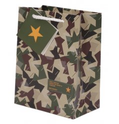 Give gifts to any little soldier with this stylish camouflage themed bag