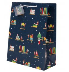 A cheeky elf themed gift bag, perfect way to give and receive gifts this festive season