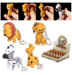 A mix of 4 zoo animal key rings each with an LED light and sound.