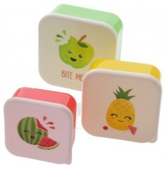 A set of 3 Jack Evans fruity friends lunch boxes