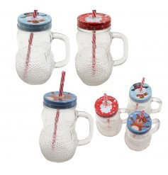 A quirky assortment of cartoon lidded snowman shaped drinking jars