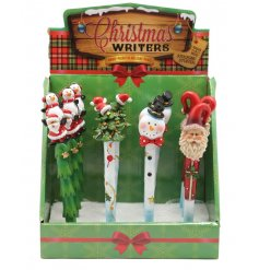 A festive mix of resin pens in an assortment of fun characters