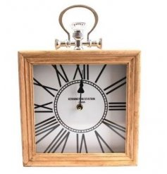 A stylish natural wooden clock with a beautifully vintage themed face