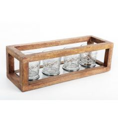 A vintage inspired wooden framed candle holder with 4 cut glass t-light holders inside.