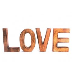A stylish set of smooth letters to spell the word 'Love'