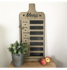 A rustic wooden Weekly Menu Plaque featuring 7 blackboard label spaces, scripted text writing and a moveable arrow point