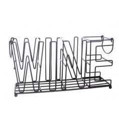 A contemporary  inspired wire rack in a black tone
