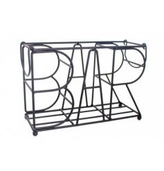 This stylish all black metal bottle holder is perfect for storing wines and alcohols