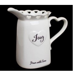 A ceramic white heart jug