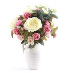 A Large Bouquet of artificial roses In a Vase