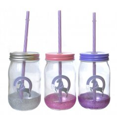 3 assorted mason jars finished with a straw and silver unicorn print