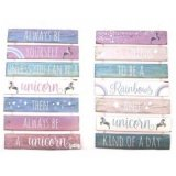An assortment of 2 tiered wall plaque with unicorn message