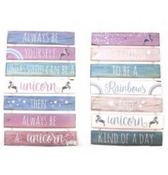perfect for any little girl's bedroom. An assortment of 2 tiered wall plaque with unicorn message
