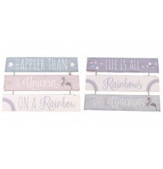 Add a dash of unicorn magic to any bedroom with this stylish purple unicorn quote 3 tier plaque