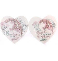 Add a magical touch to any wall with these quirky unicorn themed heart plaques