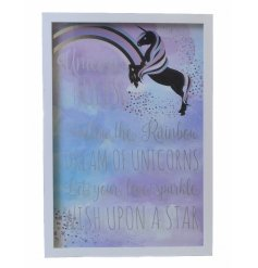 Unicorn box frame  A mystical and magical unicorn themed hanging wall plaque