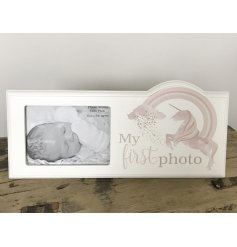 A pink unicorn 1st photo frame