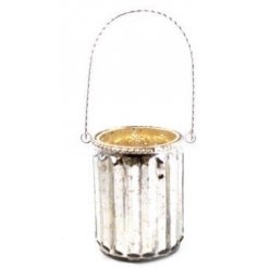 A stylish gold themed mottled glass candle holder, finished with a ridged design