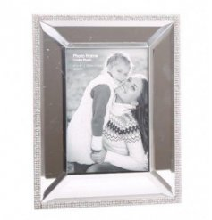 A sparkly mirrored photo frame