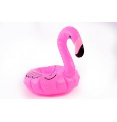 A fun and trendy inflatable flamingo drinks holder