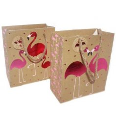 An assortment of 2 Large Flamingo Gift Bags