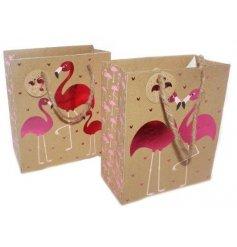 An assortment of 2 medium flamingo design gift bags