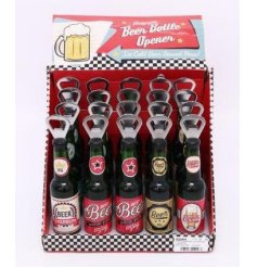 A quirky beer shaped and styled magnetic bottle opener,