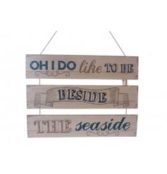 Wood and rope sign with seaside song motto