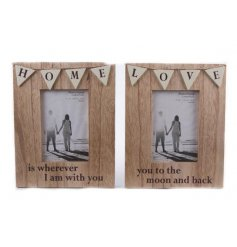 A simplistic and sweet natural toned wooden photo frame assortment
