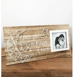 A beautifully simple wooden photoframe, with an added string art design