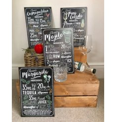 4 stylishly assorted cocktail themed hanging wall plaques