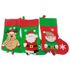 An assortment of 3 colourful Character stockings, perfect for filling with gifts for children this season.