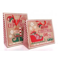 An assortment of 2 Christmas gift bags in No Peeking and Merry Christmas Eve Elf designs.