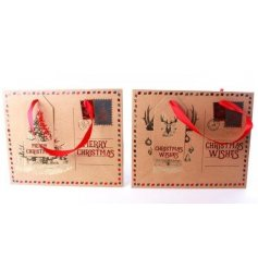 A vintage style postcard gift bag with red ribbon and matching gift tags.