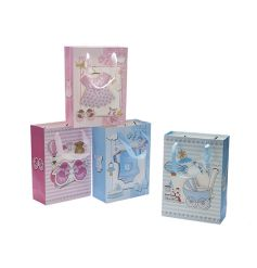 An assortment of 3D gift bags in baby boy and girl designs with a touch of sparkle.