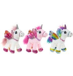 A mix of white and pink colourful standing unicorn soft toys with patterned wings.
