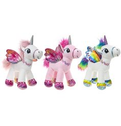 A mix of 3 magical standing unicorn soft toys with printed wings. A perfect companion for big adventures.