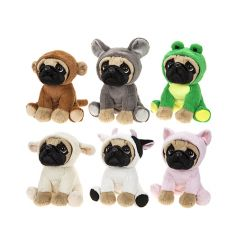 A must have! A mix of 6 adorable pug soft toys each dressed as a different animal.