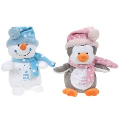 A lovely gift item for baby's first Christmas. A mix of two blue and pink penguin and snowman soft toys.