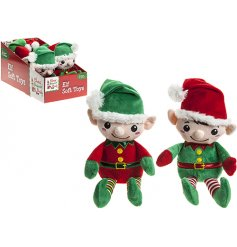 A mix of 2 red and green plush soft toy elves. A must have this season.