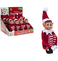 Soft toy red and white Christmas elf