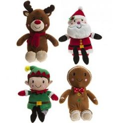 An assortment of 4 plush Christmas Characters. Soft to touch companions for little ones this season.