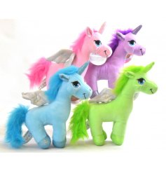 A mix of 4 magical standing unicorn soft toys with wings and glitter toes.