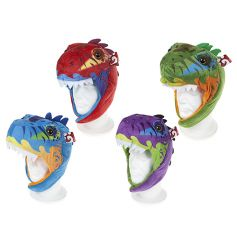 A mix of 4 fantastic dinosaur hats in bold and striking colours. A must have dress up item for dinosaur enthusiasts!
