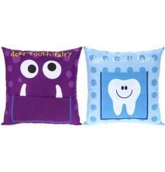 A mix of 2 tooth fairy cushion in friendly monster and tooth designs.