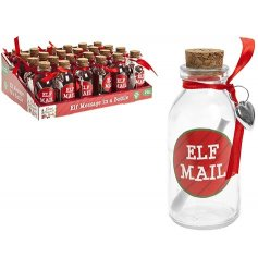Elf Mail! A fabulous message in a bottle with red ribbon and cork lid.