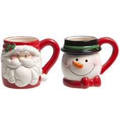 A mix of 2 Christmas character mugs in Santa and Snowman designs. Perfect for cosy nights in!