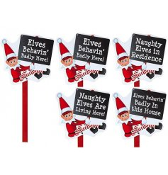 An assortment of 4 large Elves Behaving Badly Garden Signs