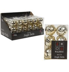 A set of 6 gold jingle bells. A Christmas essential which complements many festive themes.